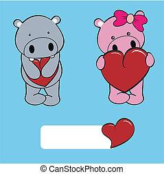 baby, nijlpaard, set, liefde, spotprent