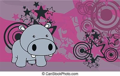 baby, nijlpaard, spotprent, achtergrond