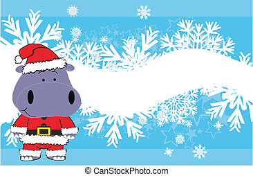 baby, nijlpaard, spotprent, achtergrond, kerstmis