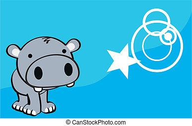 baby, nijlpaard, spotprent, achtergrond, schattig