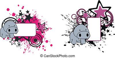 baby, nijlpaard, spotprent, copyspace