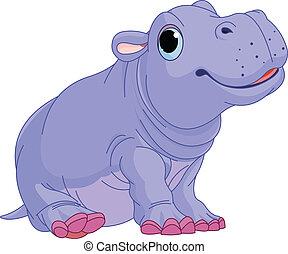 baby, nijlpaard, spotprent, jongen
