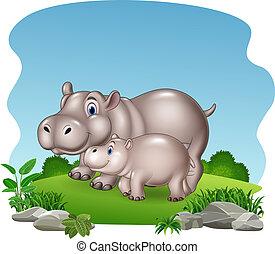 baby, nijlpaard, spotprent, jungle, moeder