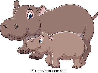 baby, nijlpaard, spotprent, moeder