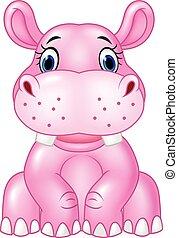 baby, nijlpaard, zittende , spotprent, vrijstaand