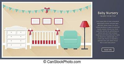 Baby nursery interior. Flat vector illustration.