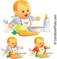 Baby feeding, nursing-bottle, solid food, variants. Illustration. More of the series in portfolio.