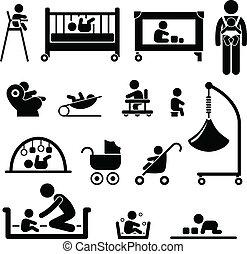 baby, nyfödd, barn, utrustning, unge