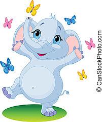 baby olifant, dancing, met, butterf