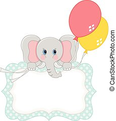 baby olifant, met, ballons, leeg, de markering van de gift