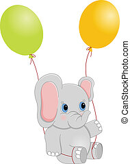 baby olifant, met, ballons