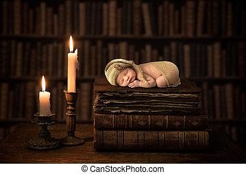 Baby on antique books