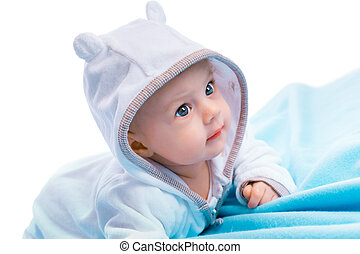 baby on blue blanket