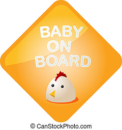 Baby on board chicken - Baby on board sticker with chicken, ...