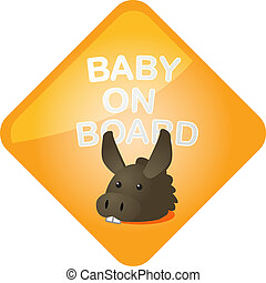 Baby on board donkey - Baby on board sticker with donkey, ...