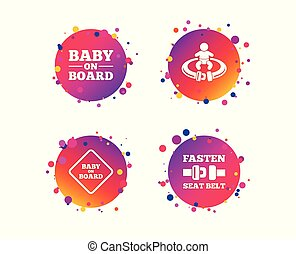 Baby on board icons. Infant caution signs. Vector