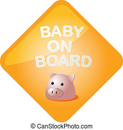 Baby on board pig - Baby on board sticker with pig, sign ...