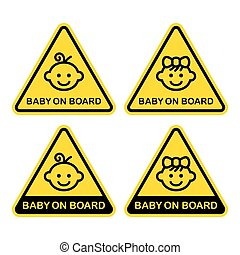Baby on Board Sign Set. White Background. Vector