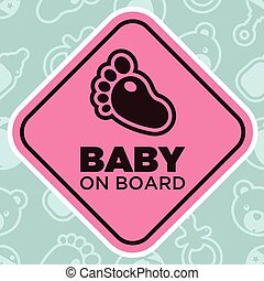 Baby on Board Sign with Baby Foot - Baby on board sign...