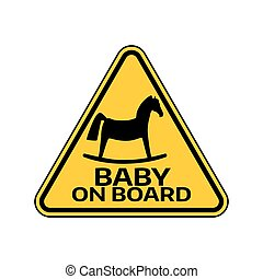 Baby on board sign with child horse silhouette in yellow triangle on a white background. Car sticker with warning.