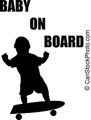Baby On Board Skateboard Silhouette No Background