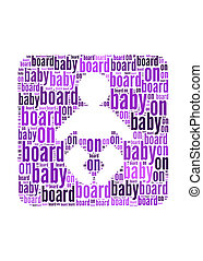 baby on board text on baby symbol  graphic and arrangement concept