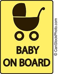 Baby on board vector illustration sign, yellow background, black silhouette, Baby Carriage Sign