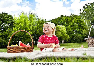 Baby On Natural Green Background