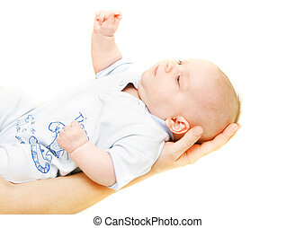 baby on parent\'s hands over white