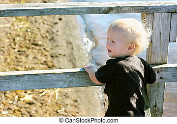 Baby on Pier at Beach