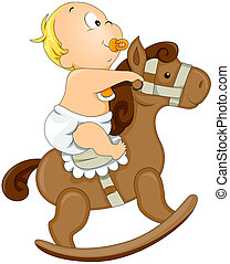 Baby on Rocking Horse with Clipping Path