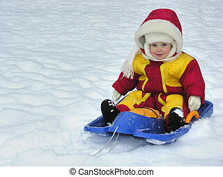 baby on sled
