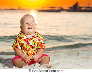 Baby on the beach - Cute baby on the tropical beach