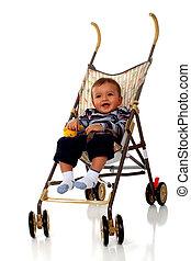 Baby-on-the-Go - Baby boy happy in his umbrella stroller....