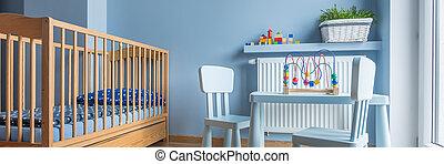 baby, ontsteken blauw, kamer