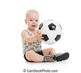 baby, op, soccerball, witte achtergrond