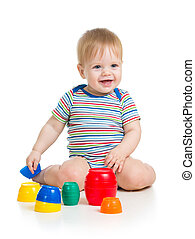 baby or child playing with toys isolated over white