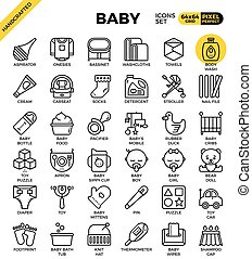 Baby outline icons concept in modern style for web or print illustration