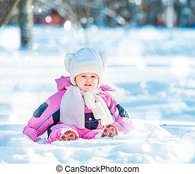 baby outside in winter