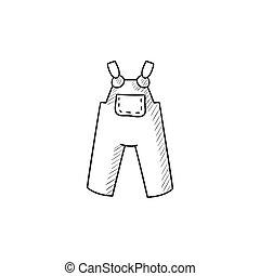 baby, overalls, skizze, icon.