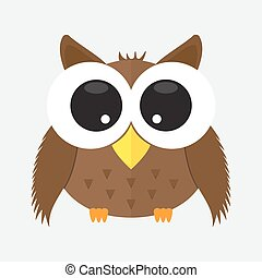 baby owl with glass cartoon character icon isolated background . animal cute logo element