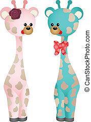 baby, paar, giraffes