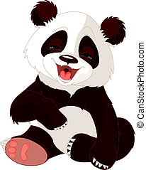 baby, panda, lachen
