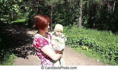 baby, park, spelend, moeder