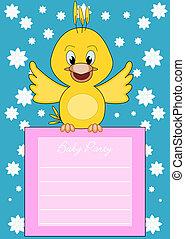Baby-Party - ein kleiner Vogel bringt die Informationen