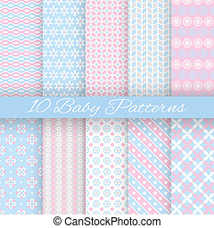 baby, pastel, forskellige, vektor, seamless, mønstre,...