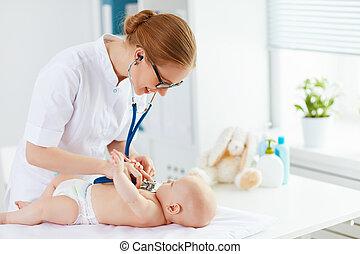 baby, patiënt, kinderarts, arts