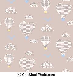 Baby pattern design. Nursery kid background. - Air balloons...