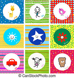 baby pattern - colorful cute baby pattern set