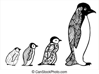Baby penguin. Hand drawn picture. Sketch for anti-stress adult coloring book in zentangle style.